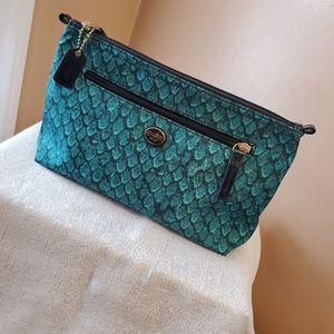 Coach cosmetic bag snakeskin emerald green/black